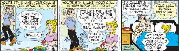 Blondie cartoon with Dagwood waiting to talk to a live person